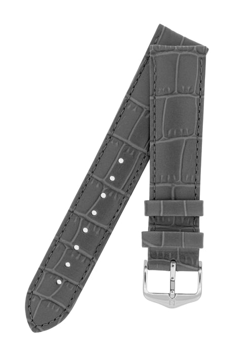 dd510f82a Hirsch LOUISIANALOOK Alligator Embossed Leather Watch Strap in GREY