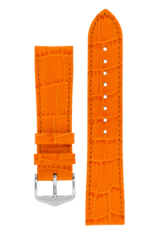 Hirsch LOUISIANALOOK Alligator Embossed Leather Watch Strap in ORANGE
