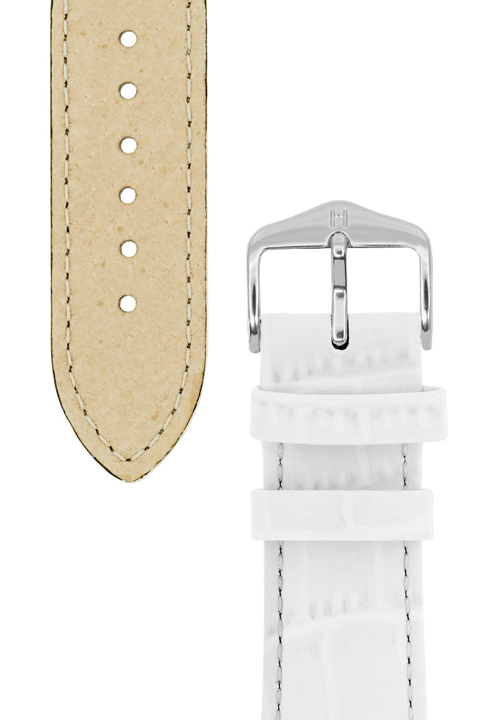 Hirsch LOUISIANALOOK Alligator Embossed Leather Watch Strap in WHITE