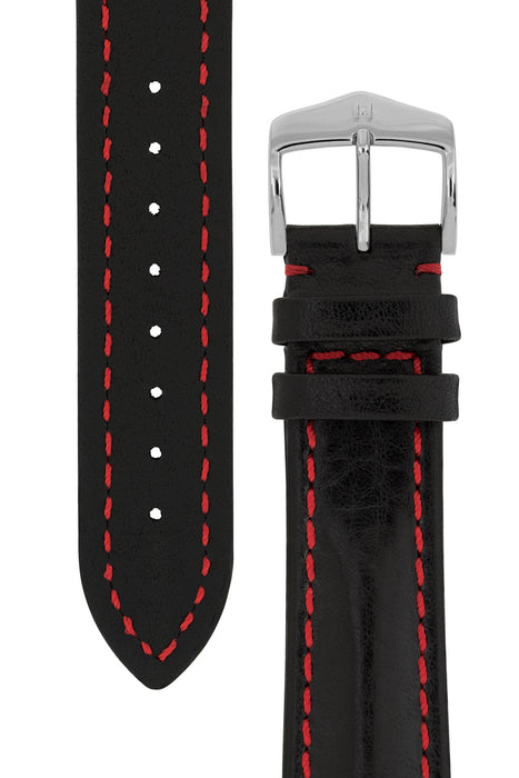Hirsch LUCCA Tuscan Leather Watch Strap in BLACK / RED