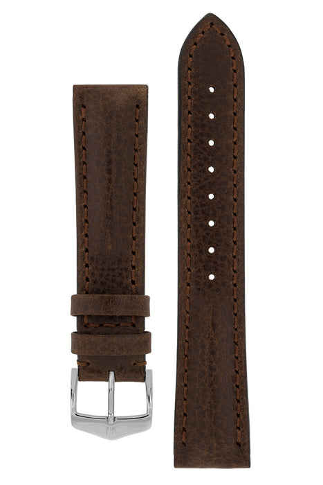 Hirsch LUCCA Tuscan Leather Watch Strap in BROWN