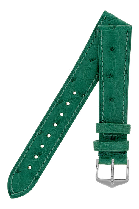 Hirsch MASSAI OSTRICH Leather Watch Strap in GREEN