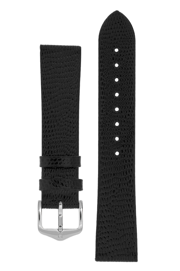 Hirsch MEDEA Lizard Embossed Leather Watch Strap in BLACK