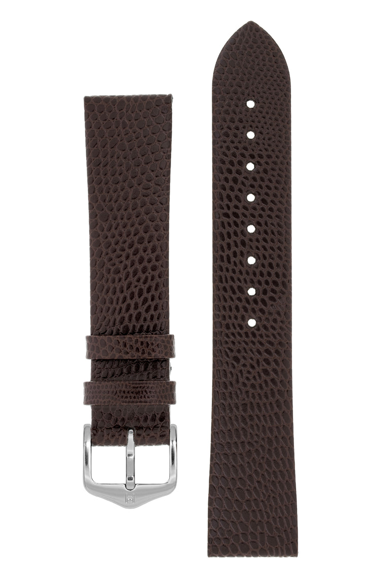 Hirsch MEDEA Lizard Embossed Leather Watch Strap in BROWN