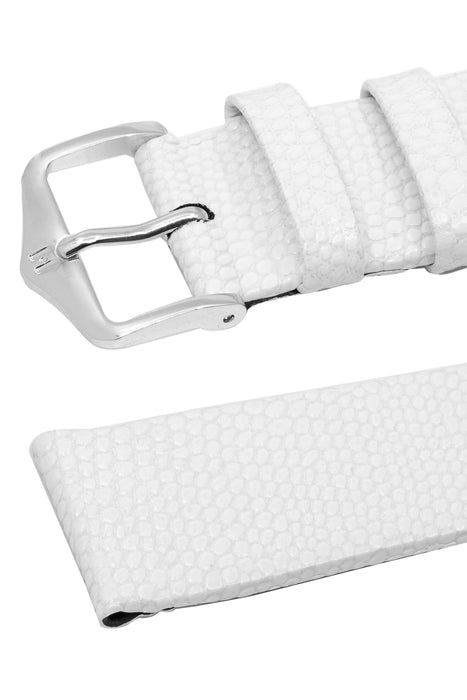 Hirsch MEDEA Lizard Embossed Leather Watch Strap in WHITE