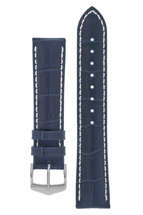 Hirsch MODENA Alligator Embossed Leather Watch Strap in BLUE