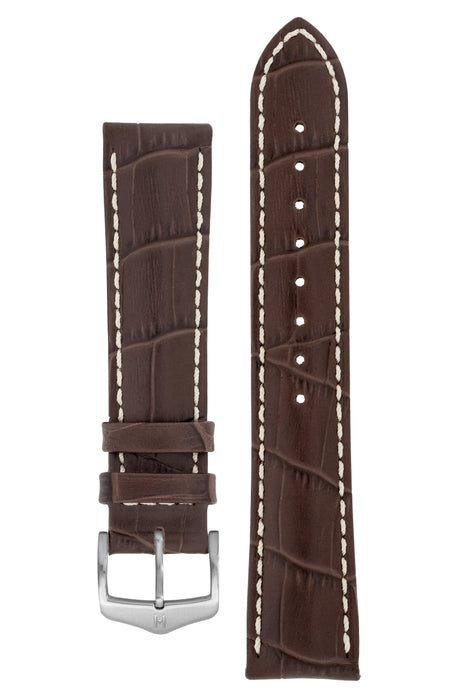 Hirsch MODENA Alligator Embossed Leather Watch Strap in BROWN