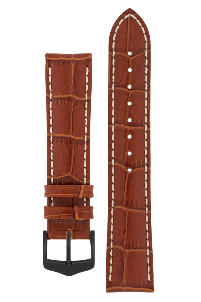 Hirsch MODENA Alligator Embossed Leather Watch Strap in GOLD BROWN