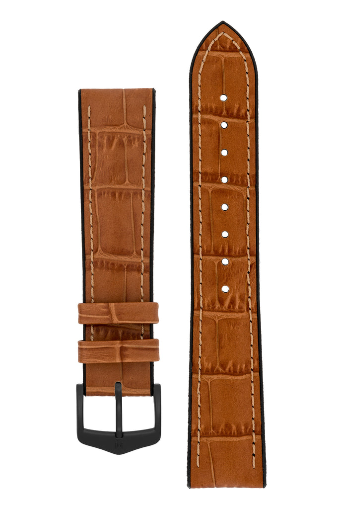 Hirsch PAUL Alligator Embossed Performance Watch Strap in HONEY