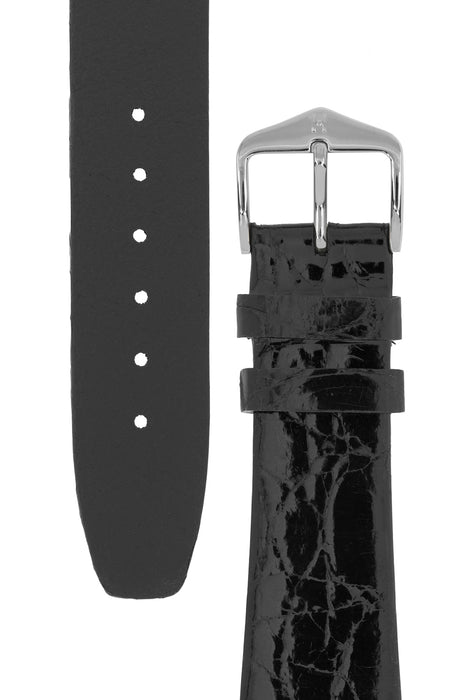 Hirsch PRESTIGE Shiny Genuine Crocodile Leather Watch Strap in BLACK