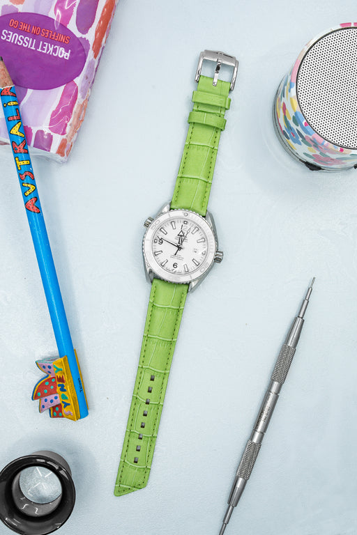 Hirsch PRINCESS Alligator Embossed Leather Watch Strap in LIGHT GREEN