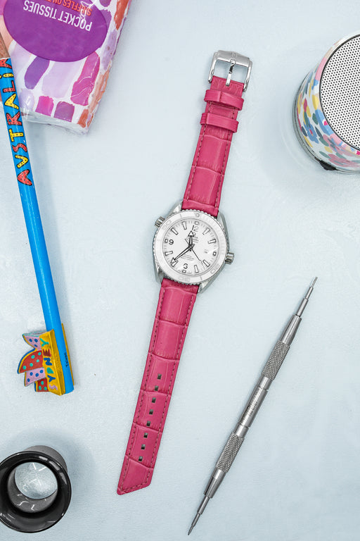 Hirsch PRINCESS Alligator Embossed Leather Watch Strap in PINK