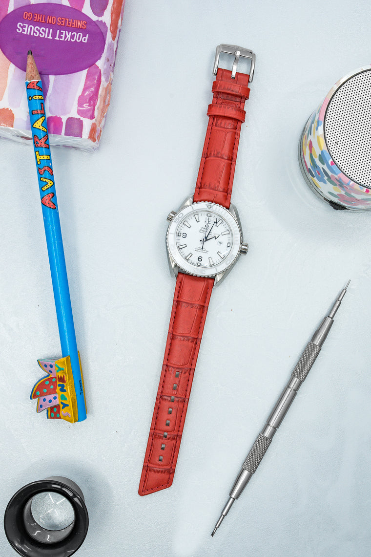 Hirsch PRINCESS Alligator Embossed Leather Watch Strap in RED