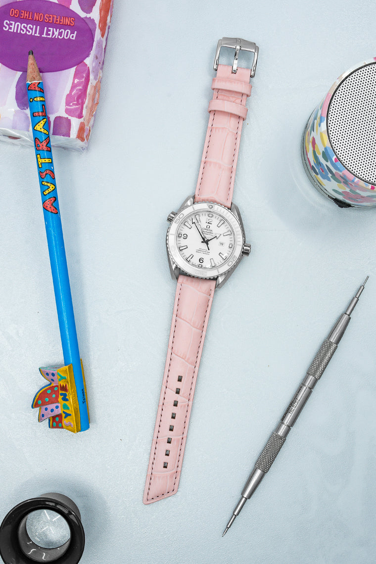 Hirsch PRINCESS Alligator Embossed Leather Watch Strap in ROSE