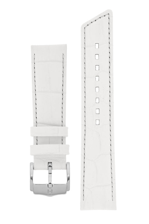 Hirsch PRINCESS Alligator Embossed Leather Watch Strap in WHITE