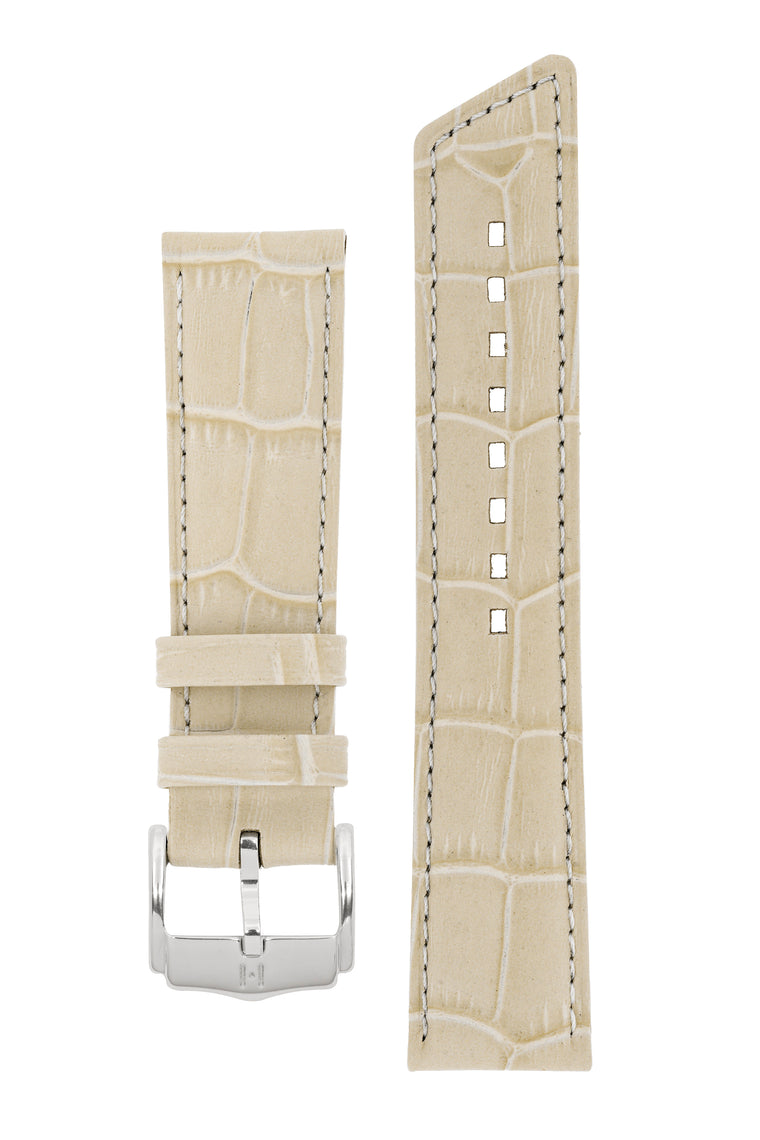 Hirsch PRINCESS Alligator Embossed Leather Watch Strap in BEIGE