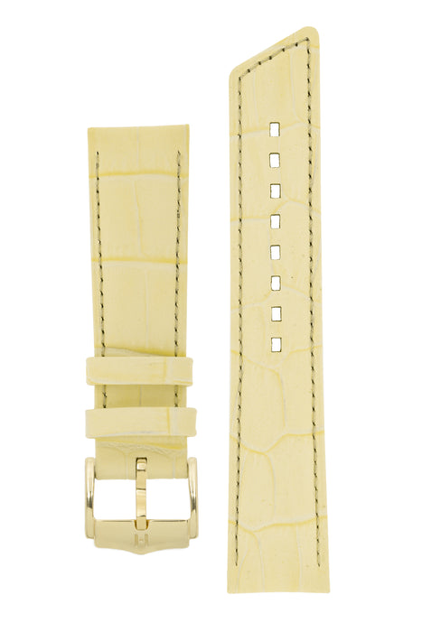 Hirsch PRINCESS Alligator Embossed Leather Watch Strap in FRENCH VANILLA