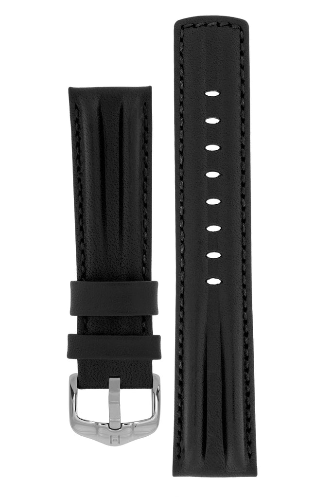 Hirsch PROFESSIONAL Calf Leather Watch Strap in BLACK / BLACK
