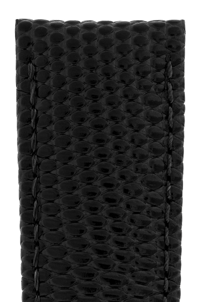 Hirsch RAINBOW Lizard Embossed Leather Watch Strap in BLACK
