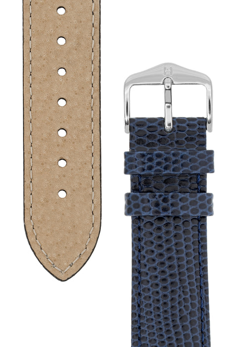 Hirsch RAINBOW Lizard Embossed Leather Watch Strap in BLUE