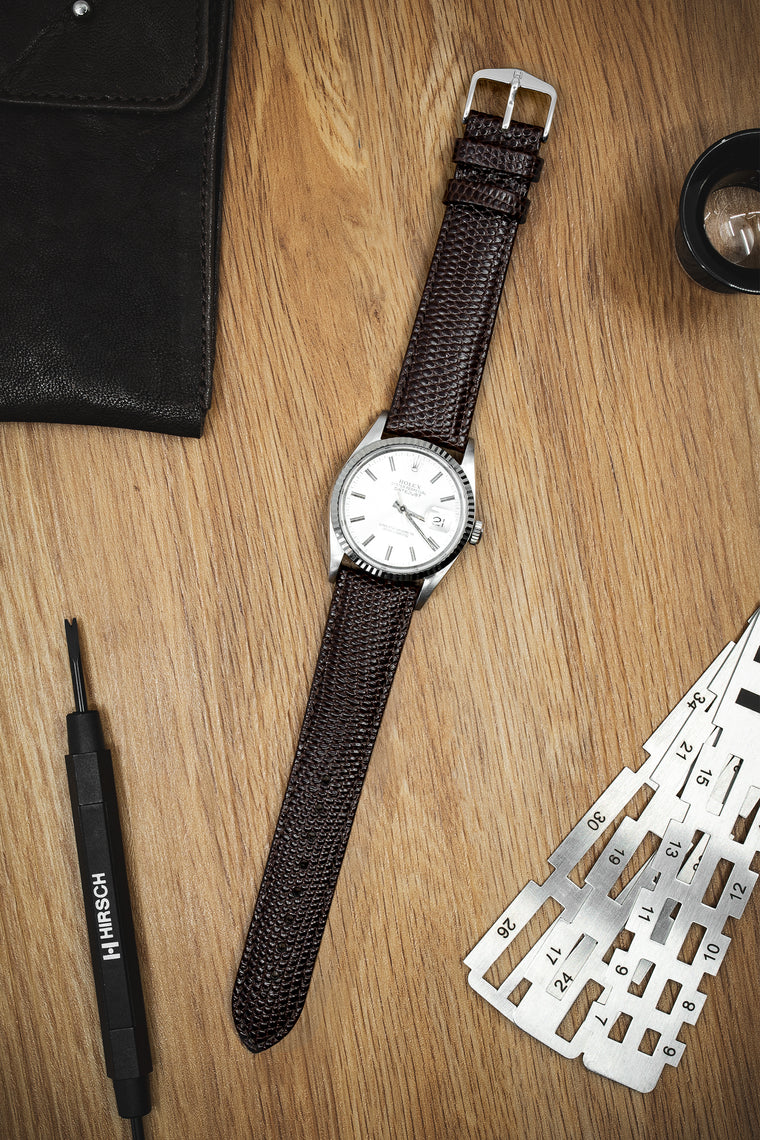 Hirsch RAINBOW Lizard Embossed Open Ended Watch Strap in BROWN