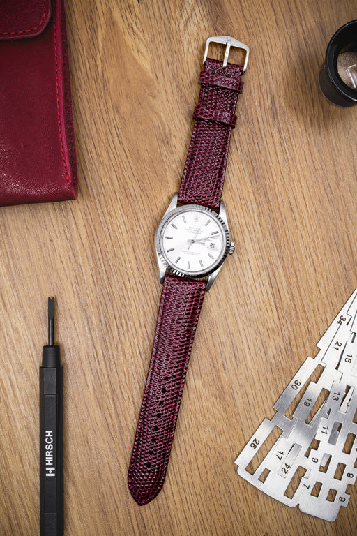 Hirsch RAINBOW Lizard Embossed Leather Watch Strap in BURGUNDY