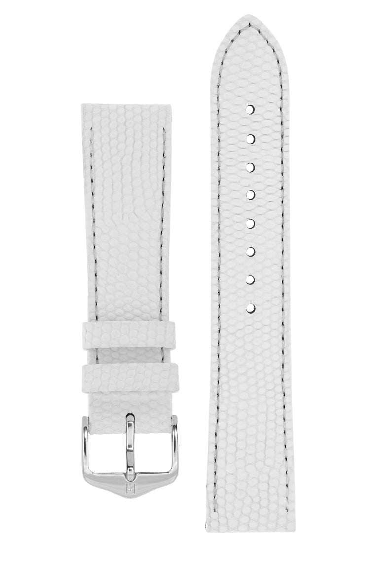 Hirsch RAINBOW Lizard Embossed Leather Watch Strap in WHITE