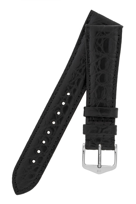 Hirsch REGENT Genuine Alligator Leather Watch Strap in BLACK