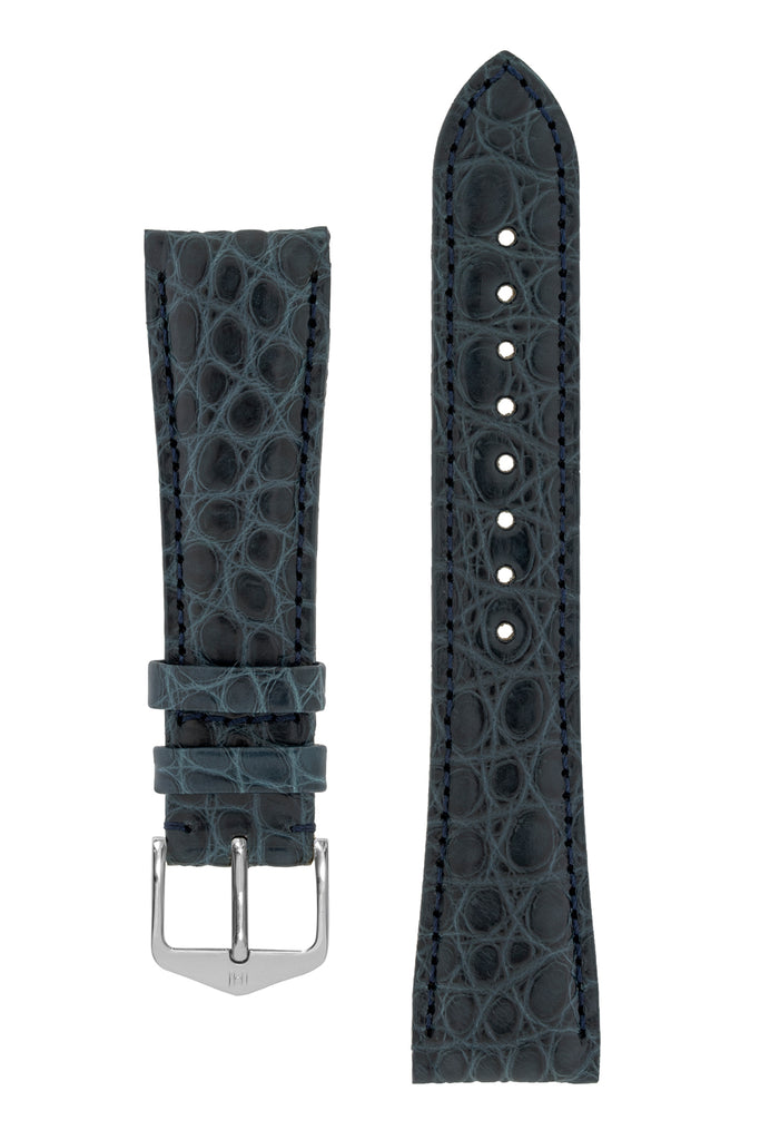 Hirsch REGENT Genuine Alligator Leather Watch Strap in BLUE