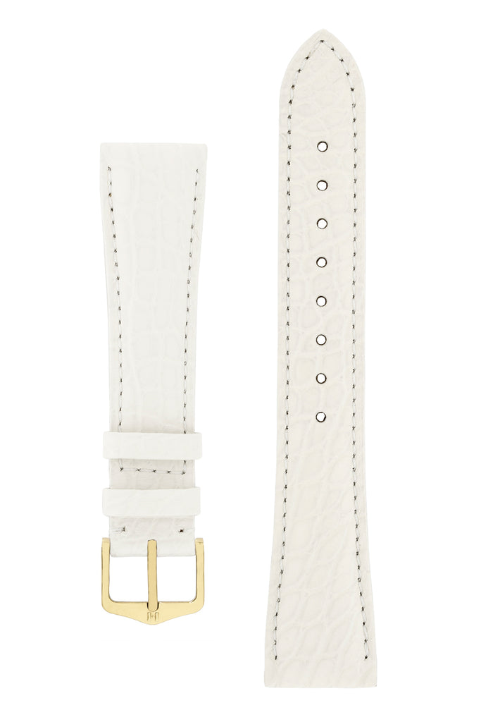 Hirsch REGENT Genuine Alligator Leather Watch Strap in WHITE