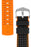 Hirsch ROBBY Sailcloth Effect Performance Watch Strap in BLACK / ORANGE