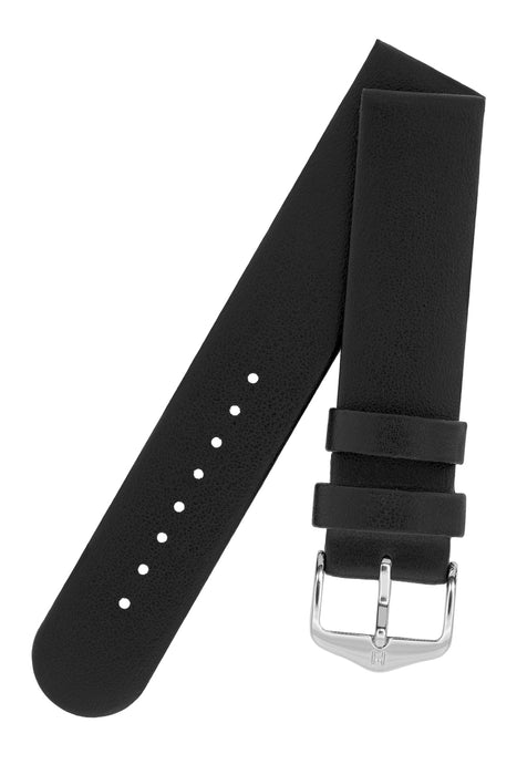 Hirsch SCANDIC Calf Leather Watch Strap in BLACK