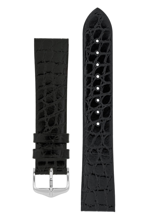 Hirsch SOBEK Crocodile Embossed Leather Watch Strap in BLACK