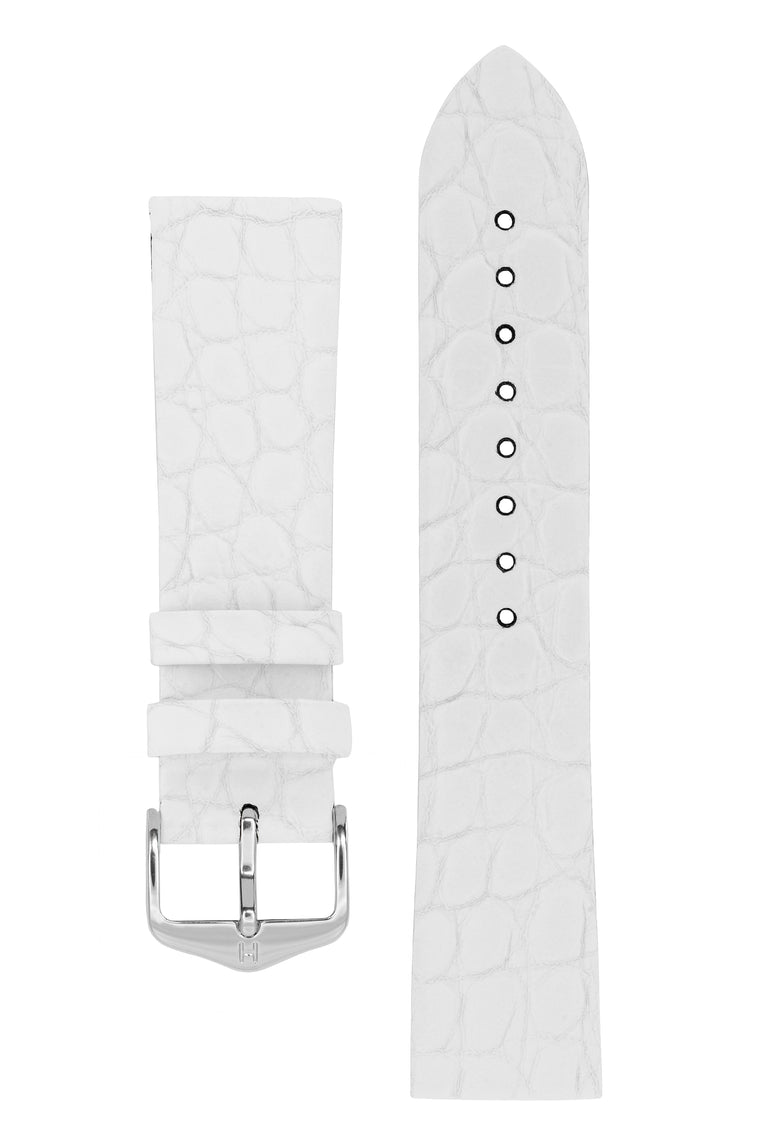 Hirsch SOBEK Crocodile Embossed Leather Watch Strap in WHITE
