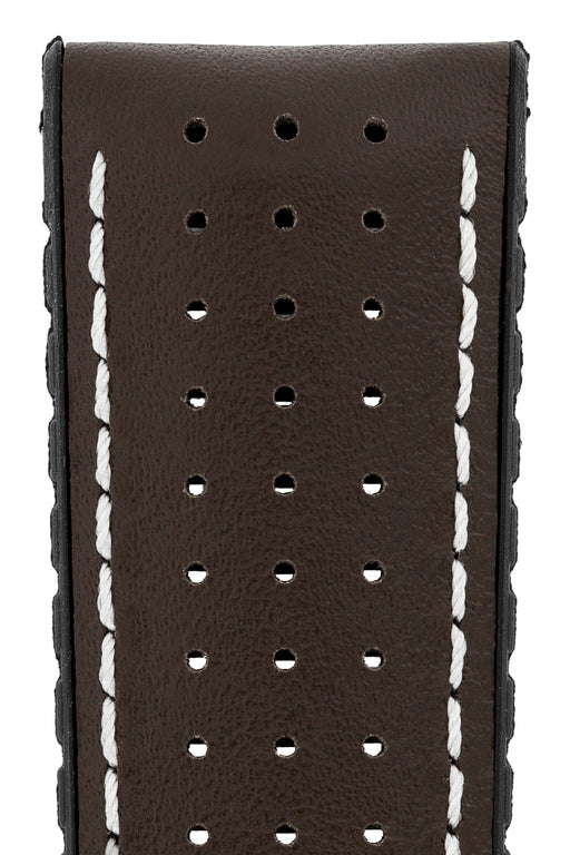 Hirsch TIGER Perforated Leather Performance Watch Strap in BROWN