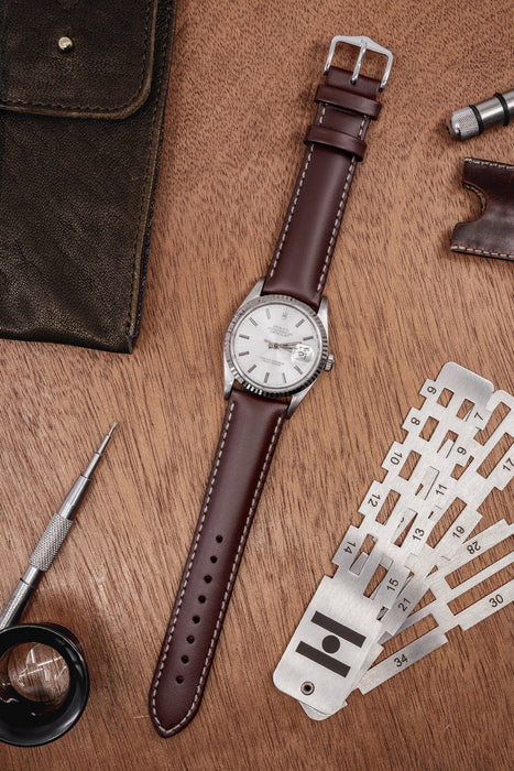 Hirsch TROOPER Calf Leather Watch Strap in BROWN