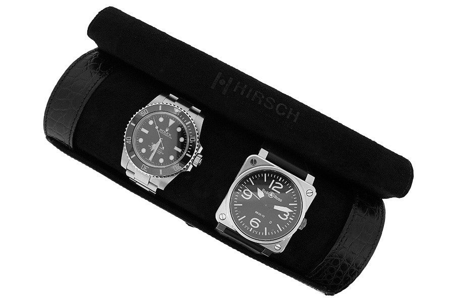 Hirsch Genuine Alligator Watch Case in BLACK