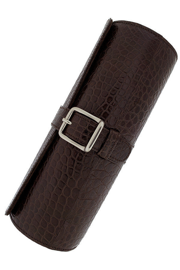Hirsch Genuine Alligator Watch Case in BROWN