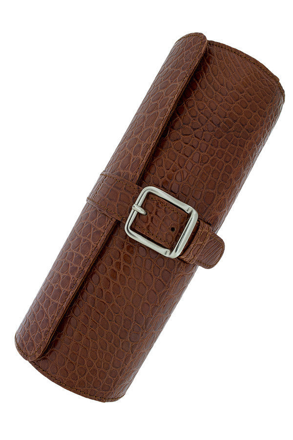 Hirsch Genuine Alligator Watch Case in GOLD BROWN