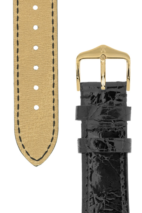 Hirsch GENUINE CROCO Shiny Crocodile Leather Watch Strap in BLACK