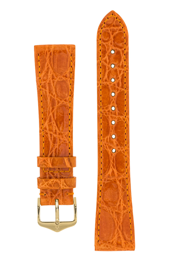Hirsch GENUINE CROCO Shiny Crocodile Leather Watch Strap in ORANGE