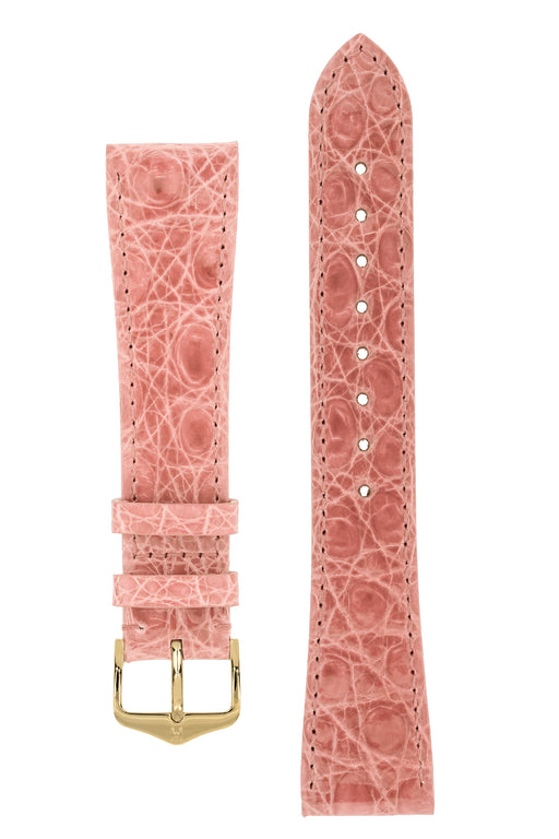 Hirsch GENUINE CROCO Shiny Crocodile Leather Watch Strap in ROSA