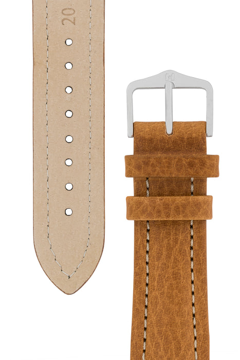 Hirsch BUFFALO Calf Leather Watch Strap in GOLD BROWN