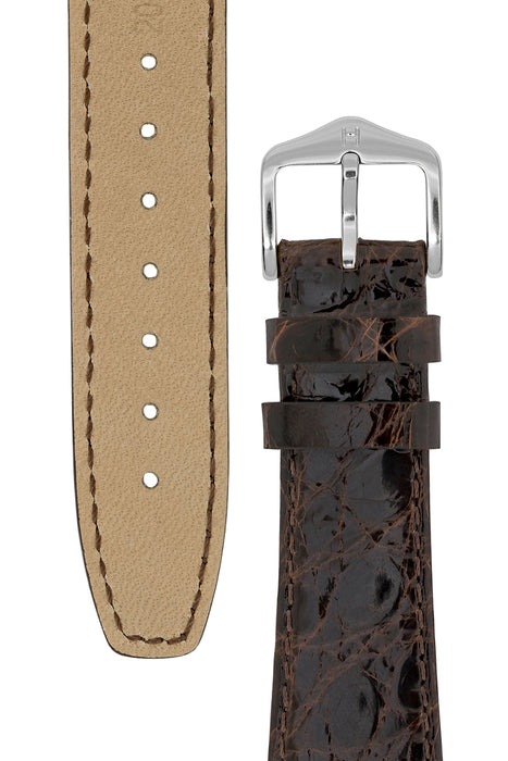 Hirsch GENUINE CROCO Open-Ended Crocodile Leather Watch Strap in BROWN