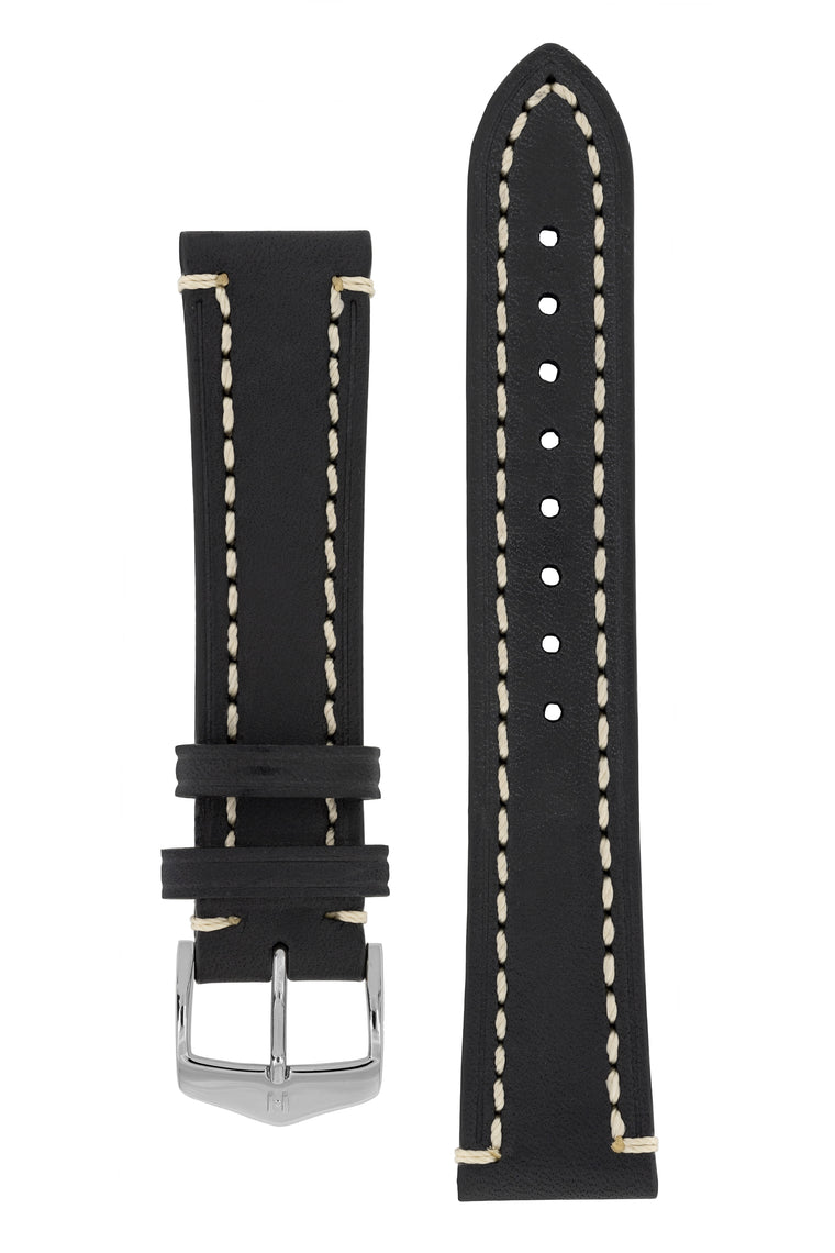 Hirsch LIBERTY Leather Watch Strap in BLACK