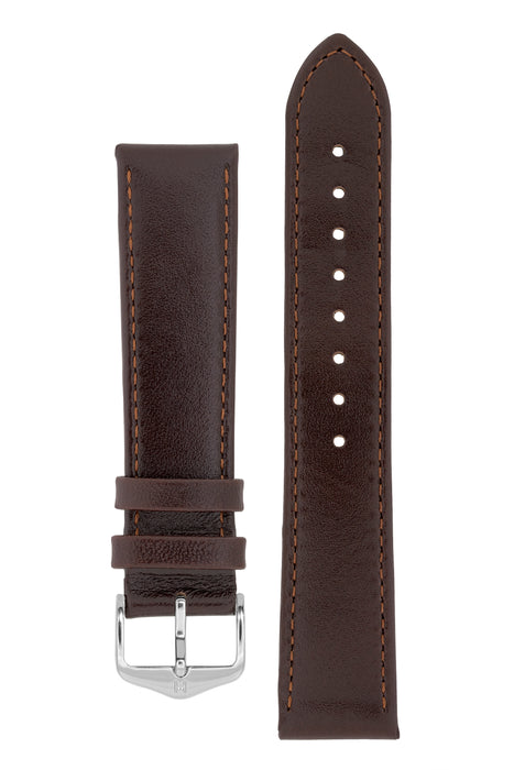 Hirsch OSIRIS Calf Leather Watch Strap in BROWN
