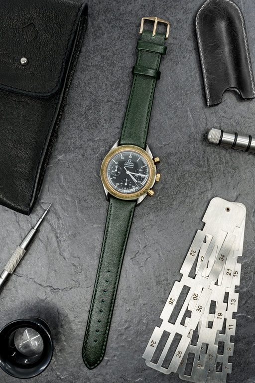 Hirsch OSIRIS Calf Leather Watch Strap in GREEN