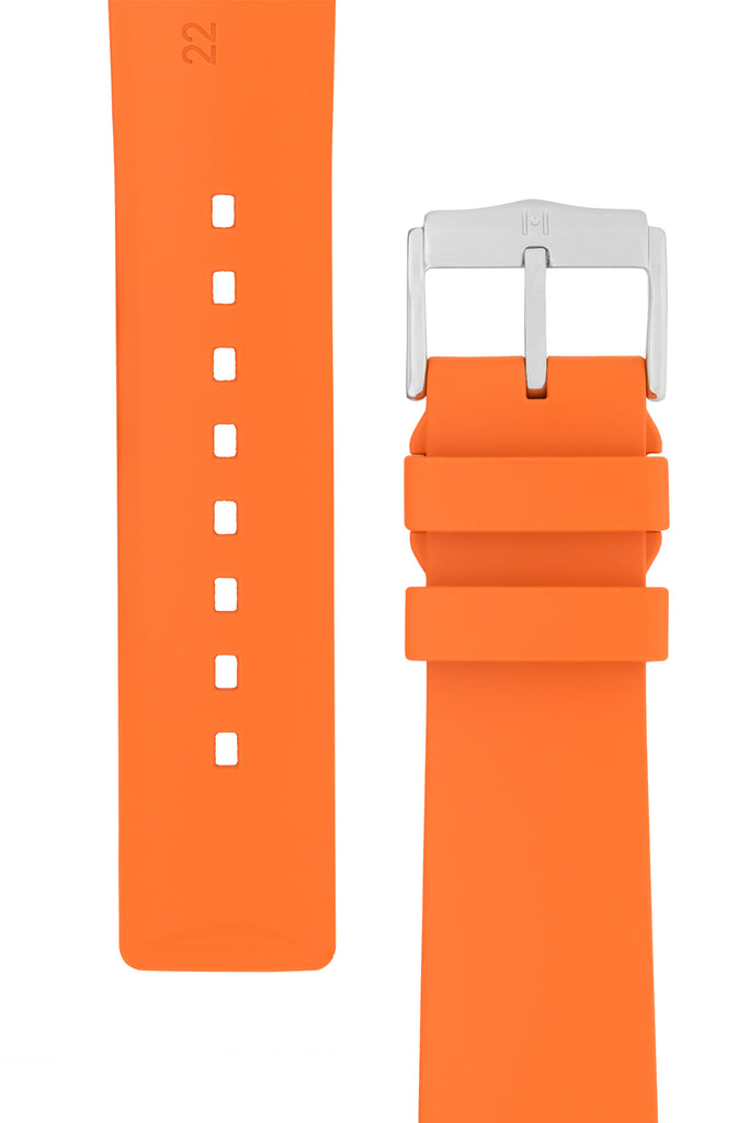 Hirsch PURE Natural Rubber Watch Strap in ORANGE