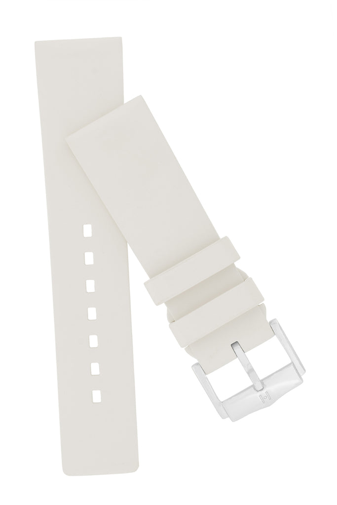 Hirsch PURE Natural Rubber Watch Strap in WHITE