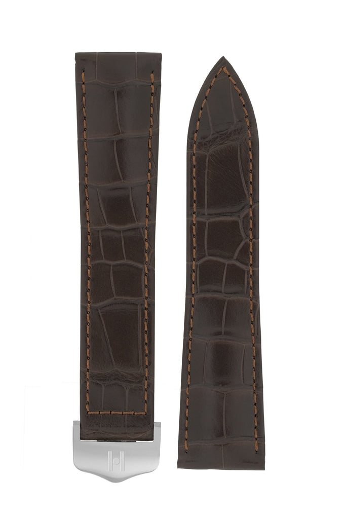 Hirsch SAVOIR Alligator Single Fold Deployment Watch Strap in MATT DARK BROWN